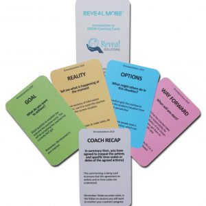 GROW Coaching model cards introduction, coaching questions. coaching products
