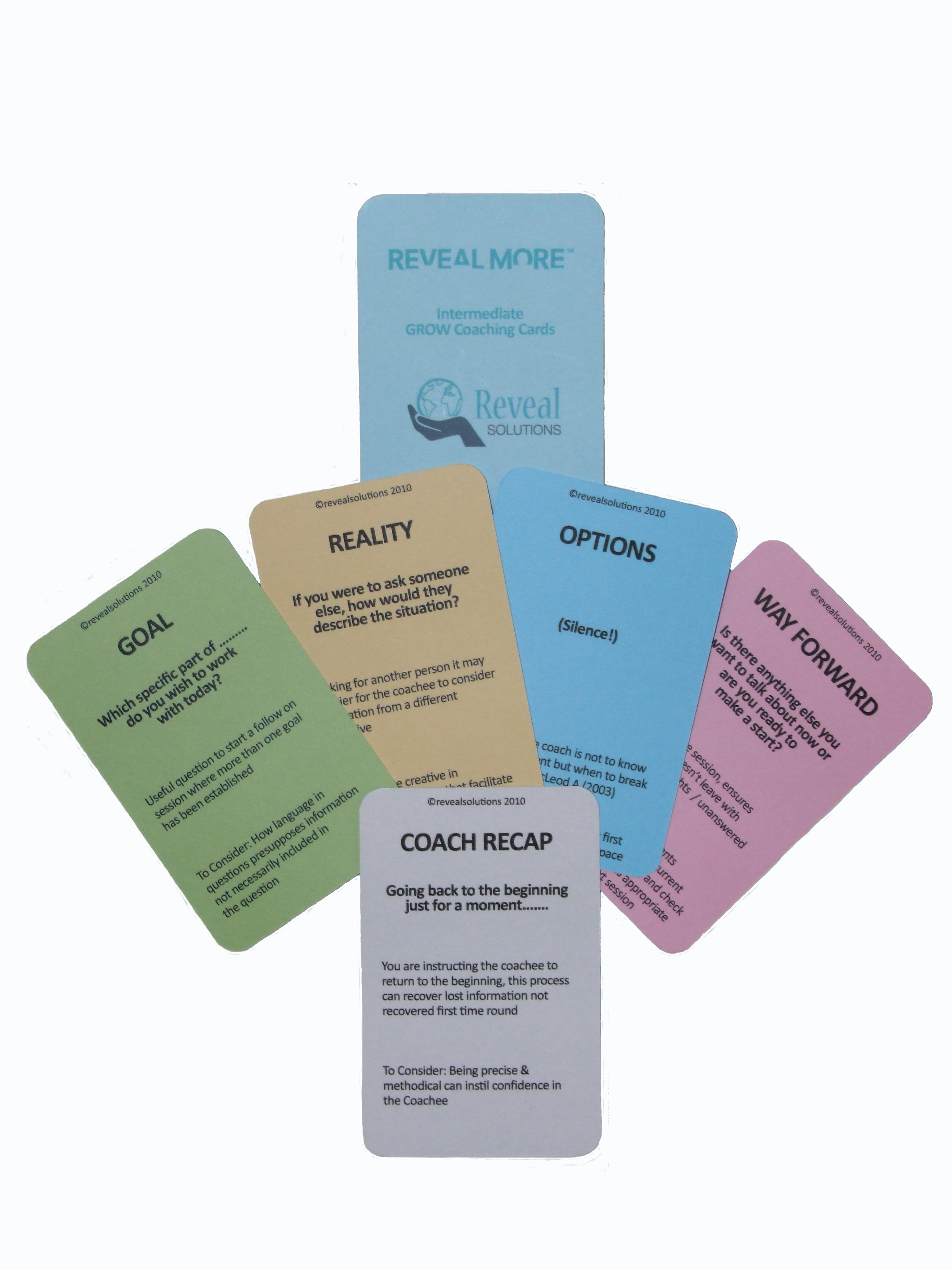 GROW coaching model cards intermediate, coaching cards, coaching products, coasching questions