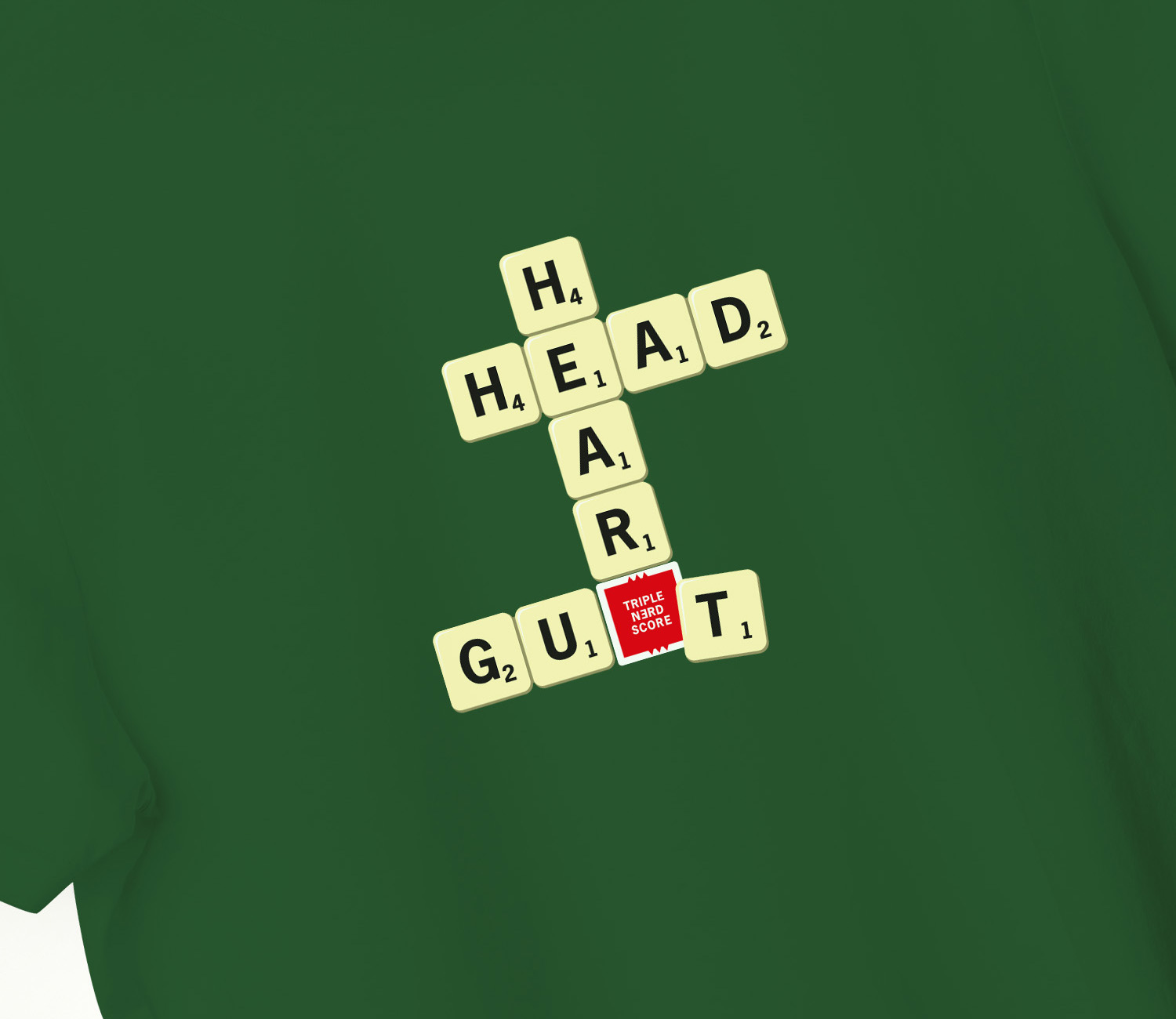 Scrabble T-shirt Bottle Green. Detail
